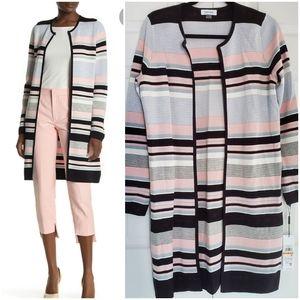 NEW Calvin Klein Stripe / Colorblock Midi Cardigan